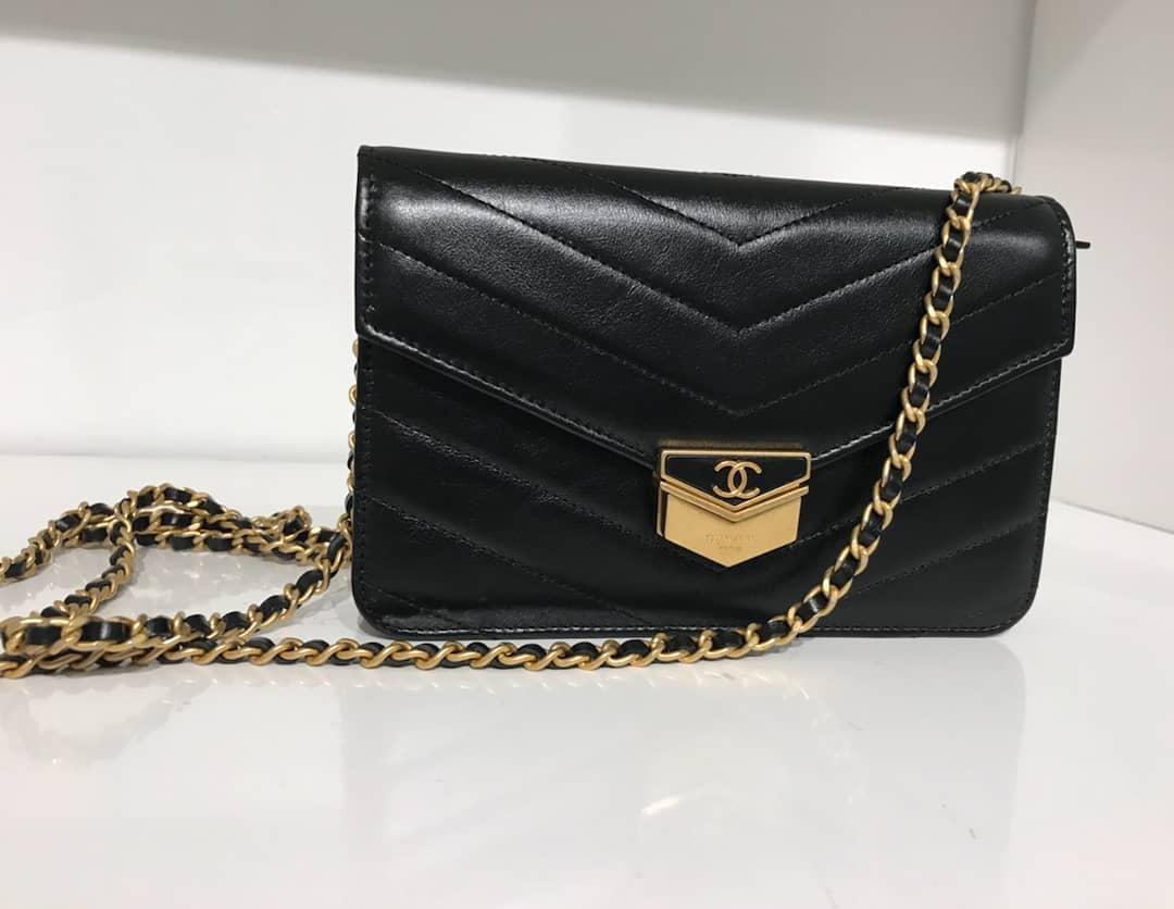 Chanel-chevron-medal-flap-bag-black
