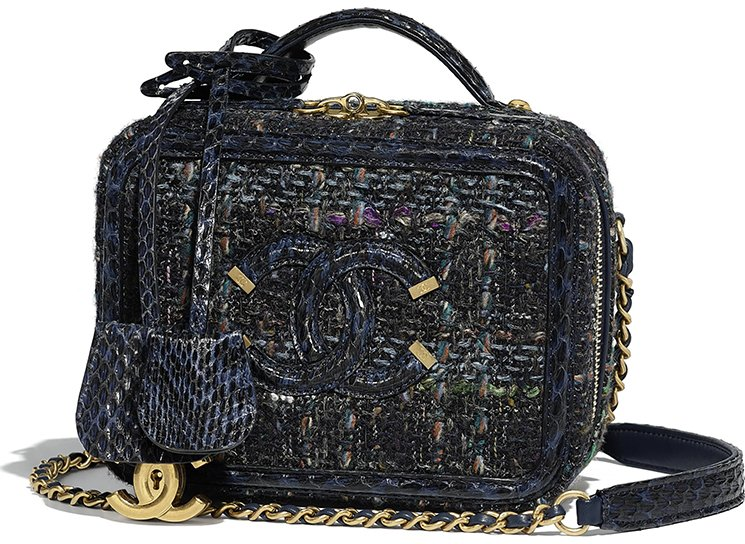 Chanel Tweed Elaphe CC Filigree Vanity Case Style code  A93342 Size  5.1  x  2.8′ x 6.7′ inches. Price   4700 USD, €3950 euro, £3580 GBP,  6720 SGD, ... f5fec08a52