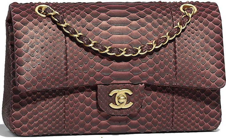09be0b468260 Chanel Jumbo Python Metallic Classic Flap Bag Style code: A67086 Size: 5.7′  x 9.8' x 3.1′ inches. Price: $7200 USD, €6170 euro, £5600 GBP, $10500 SGD,  ...