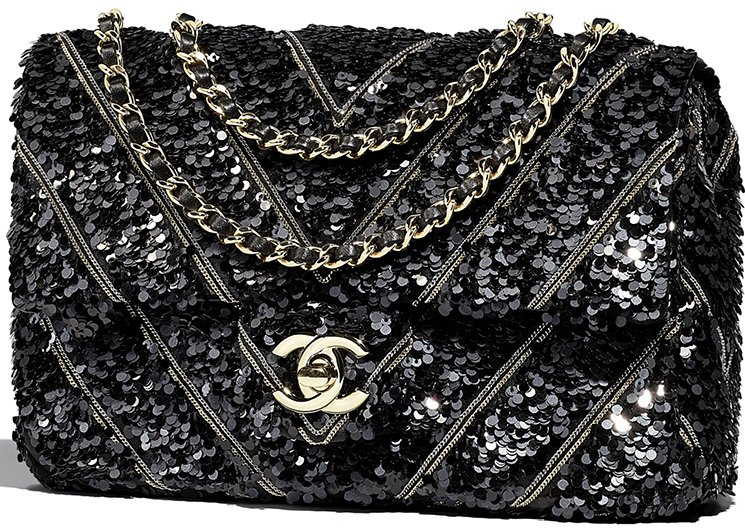 Chanel Chevron Sequins Chains Flap Bag Style code  A57883 Size  5.5′ x 2′ x  7.9′ inches. Price   6500 USD, €5550 euro, £4920 GBP, ¥767880 JPY,  8125  CAD, ... 9b6f3bfafd