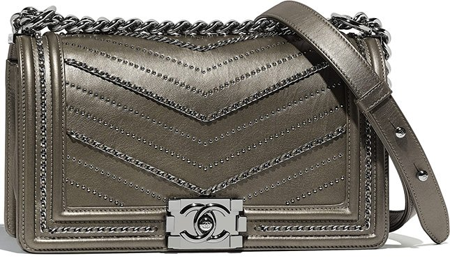 3166785bfb0dd Chanel Boy Chevron Chain Sequins Bag