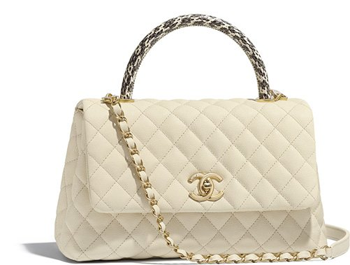 Chanel Coco Handle Bag With Elaphe Handle