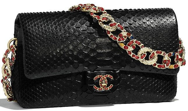 7fd2b061d87b Chanel M/L Python Classic Flap Bag Style code: A01112 Size: 6.2′ x 10.1′ x  2.7′ inches. Price: $10300 USD, €8700 euro, £7820 GBP, $14840 SGD, $79700  HKD, ...
