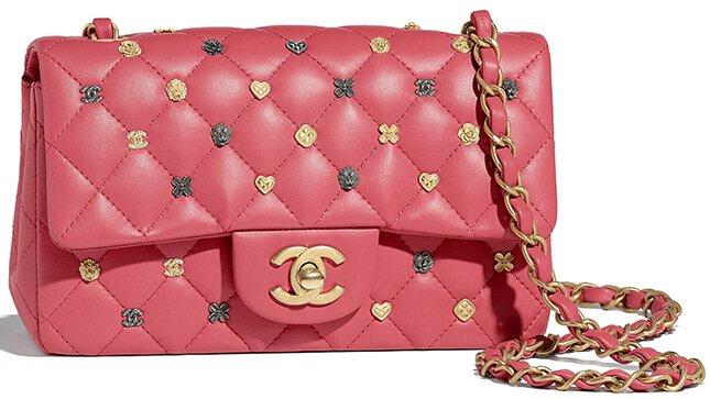 260ebab9f51e Chanel New Mini Symbol Classic Flap Bag Style code: A69900 Size: 4.9′ x  7.8′ x 2.7′ inches. Price: $4300 USD, €3390 euro, £3020 GBP, $5590 SGD,  $29500 HKD, ...