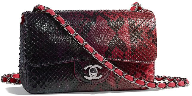 472aeee69ab0 Chanel New Mini Python Flap Bag Style code: A69900 Size: 4.9′ x 7.8′ x 2.7′  inches. Price: $6100 USD, €5100 euro, £4580 GBP, $8700 SGD, $46700 HKD, ...