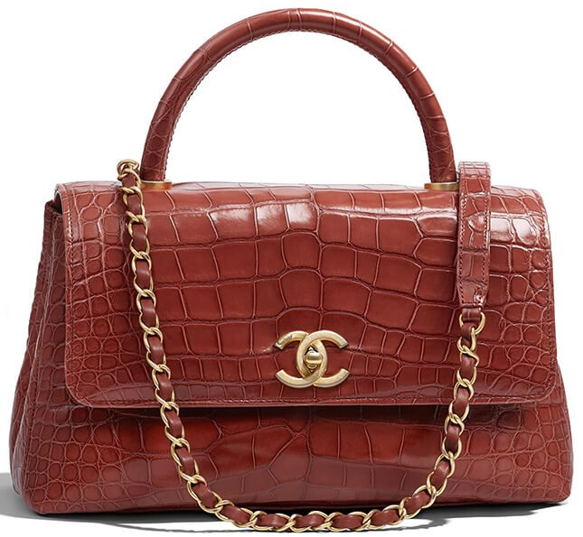 f04982eefce2 Chanel Alligator Coco Handle Bag Style code: A93737 Size: 6.6′ x 4.7′ x  11.3′ inches