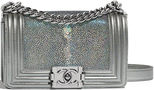 Chanel Boy Small Metallic Sharkskin Flap Bag
