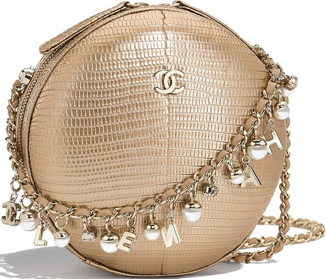 Chanel Gold Metallic Lizard City Box Evening Bag