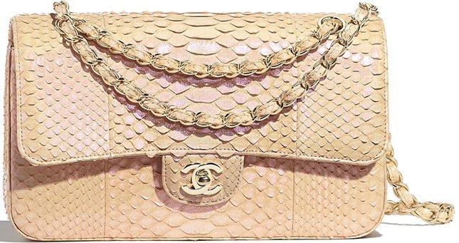 Chanel M/L Python Classic Flap Bag