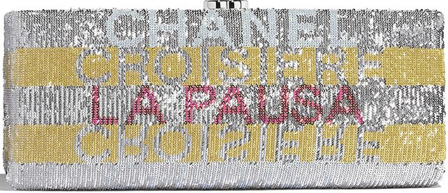 Chanel La Pausa Embroidered Satin Clutch