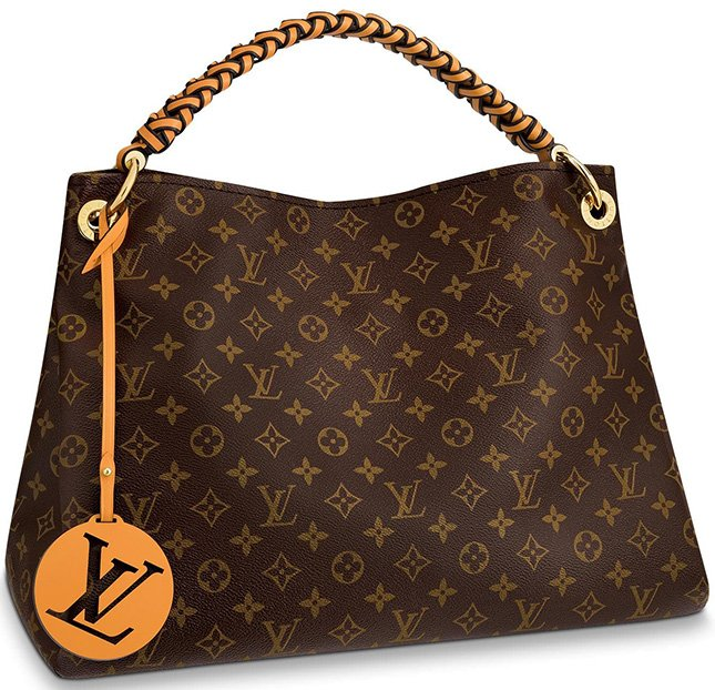 louis vuitton braided handle with colorful leather charm