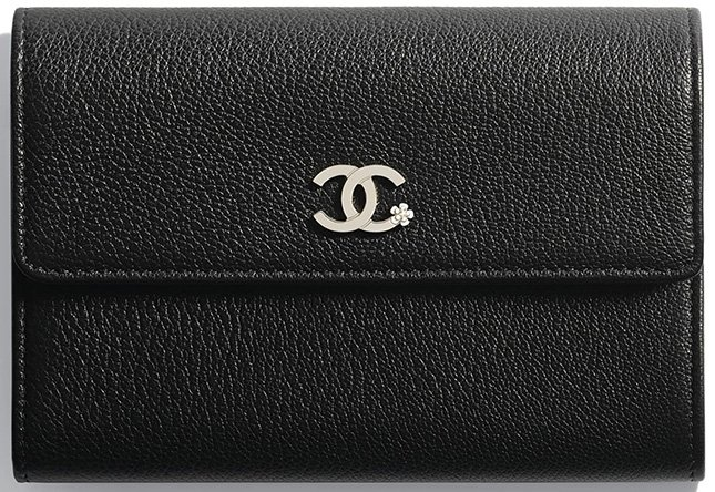 Chanel CC Camellia Smooth Leather Wallets