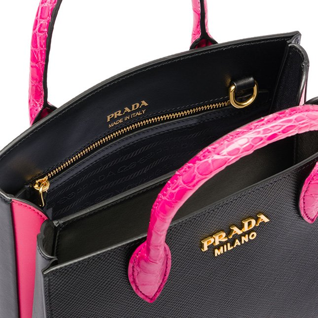 Prada Saffiano Bag With Crocodile Handle