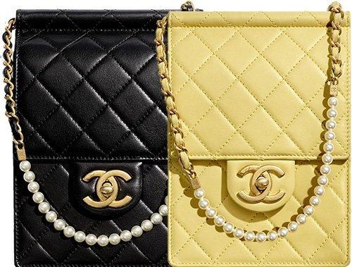 Chanel Classic Vertical Pearl Chain Mini Clutch thumb