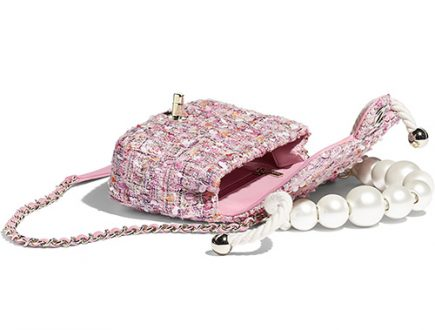 Chanel Tweed Flap Bag With Large Pearl Handle thumb