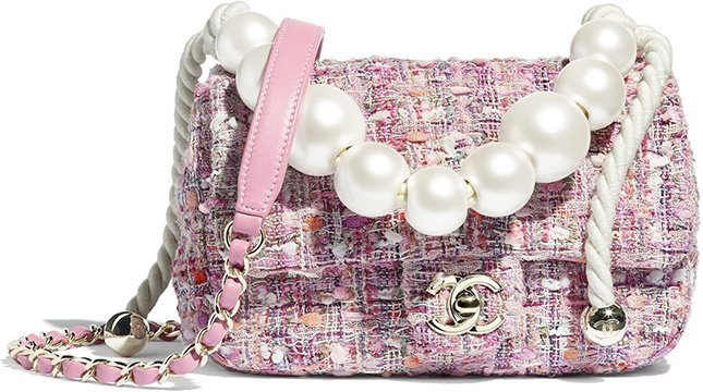 Chanel Tweed Flap Bag With Large Pearl Handle