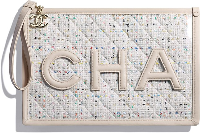 Chanel Tweed PVC Logo Pouches