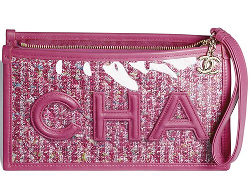 Chanel Tweed PVC Logo Pouches thumb