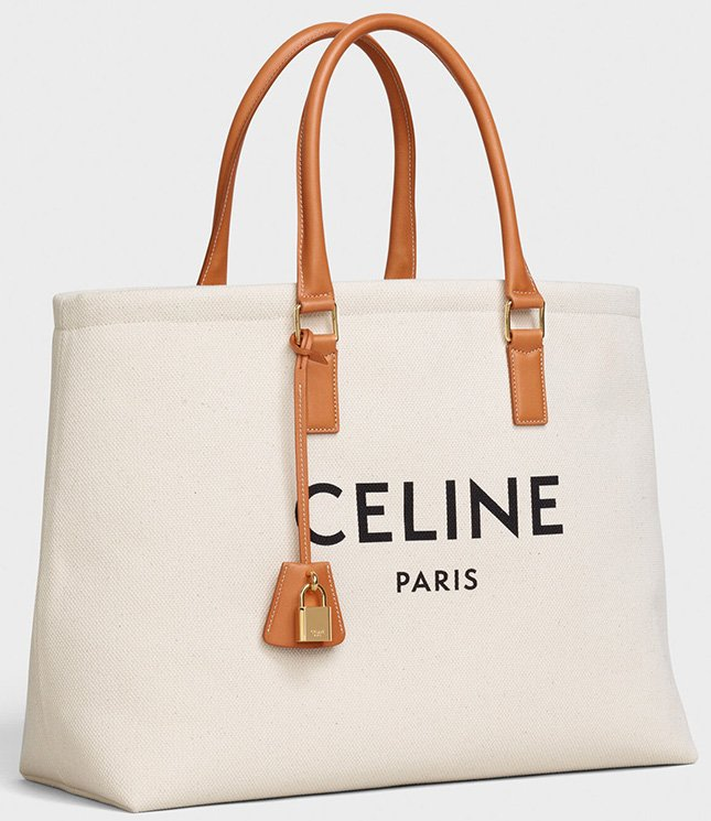 Celine Horizontal Cabas Canvas Logo Print Bag