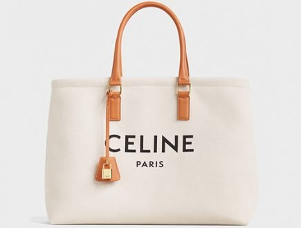 Celine Horizontal Cabas Canvas Logo Print Bag thumb
