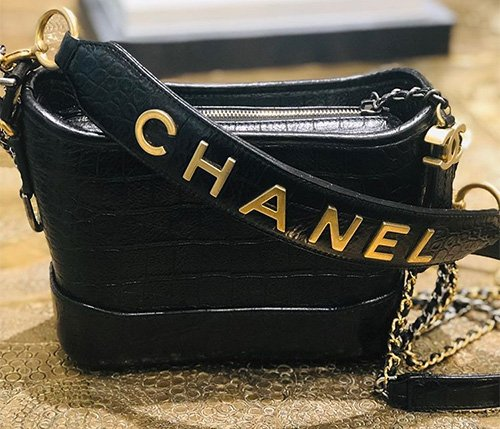 Chanel's Gabrielle Croc Embossed Bag With Signature Strap thumb