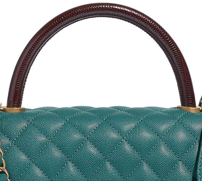 Chanel Coco Handle Bag With Lizard Embosse
