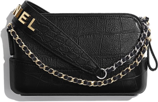 Chanel Croc Embossed Gabrielle Clutch With Logo Strap