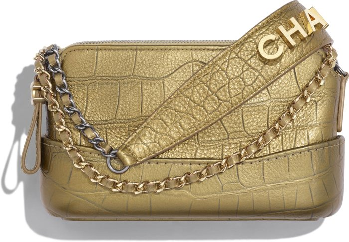 chanel gabrielle clutch with chain gold metallic crocodile embossed