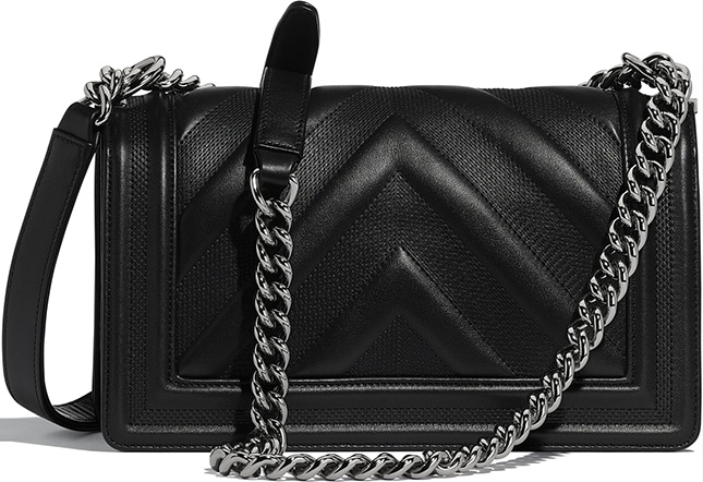 Chanel Embossed Chevron Boy Bag