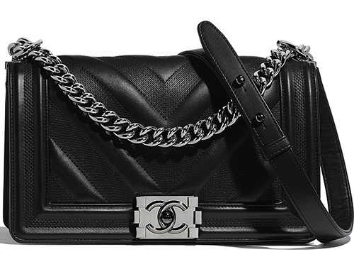 Chanel Embossed Chevron Boy Bag thumb