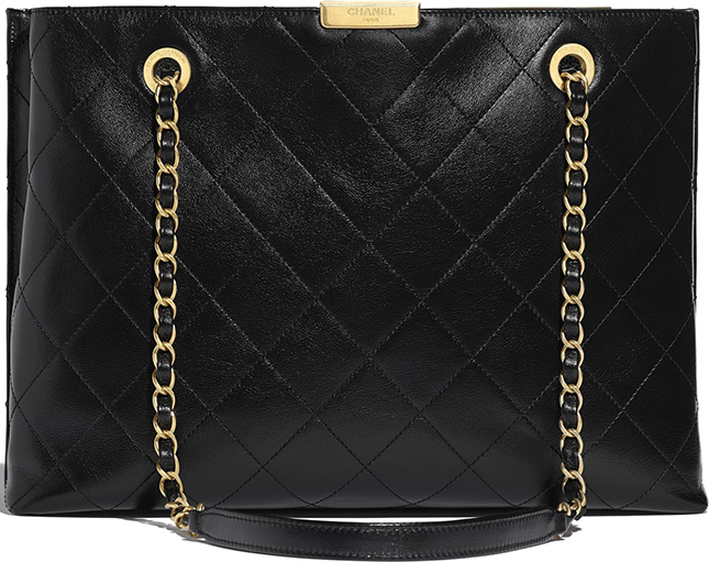 Chanel Large Shopping Bag With Signature Plate
