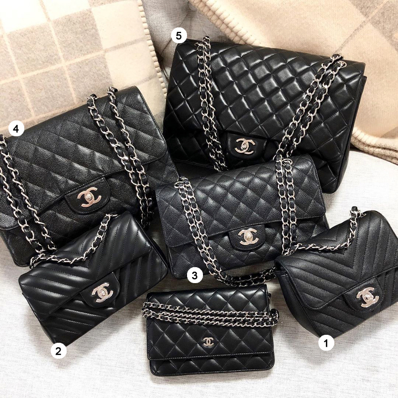 chanel classic flap bag sizes