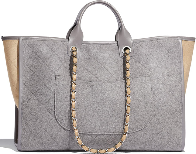 Chanel Bi Color Deauville Bag with Wool Felt and Calfskin