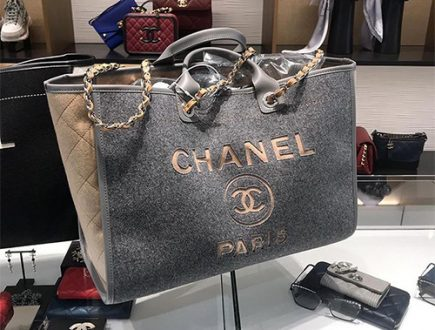 Chanel Bi Color Deauville Bag with Wool Felt and Calfskin thumb