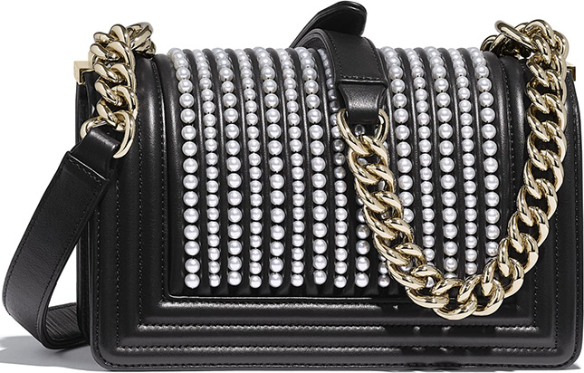 Chanel Boy Vertical Pearl Bag