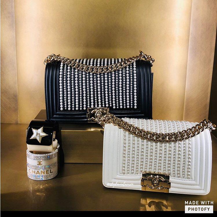 Chanel Boy Vertical Pearl Bag