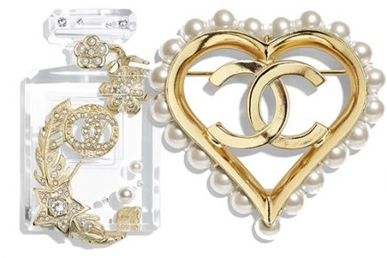 Chanel Heart Pearl and Snow Flake Brooches thumb