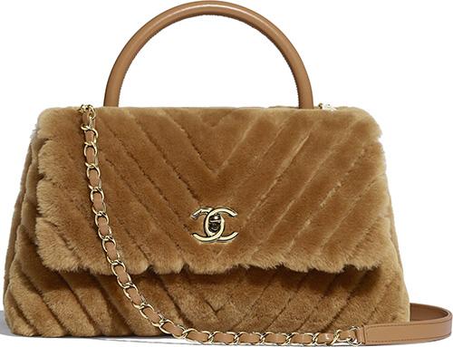 Chanel Shearling Chevron Coco Handle Bag thumb