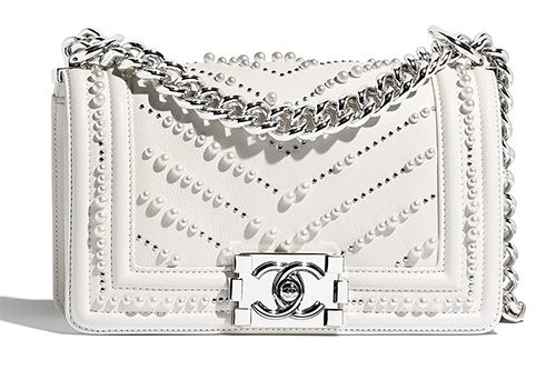 Chanel Boy Chevron Pearl Bag thumb