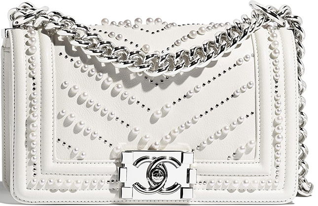 Chanel Boy Chevron Pearl Bag