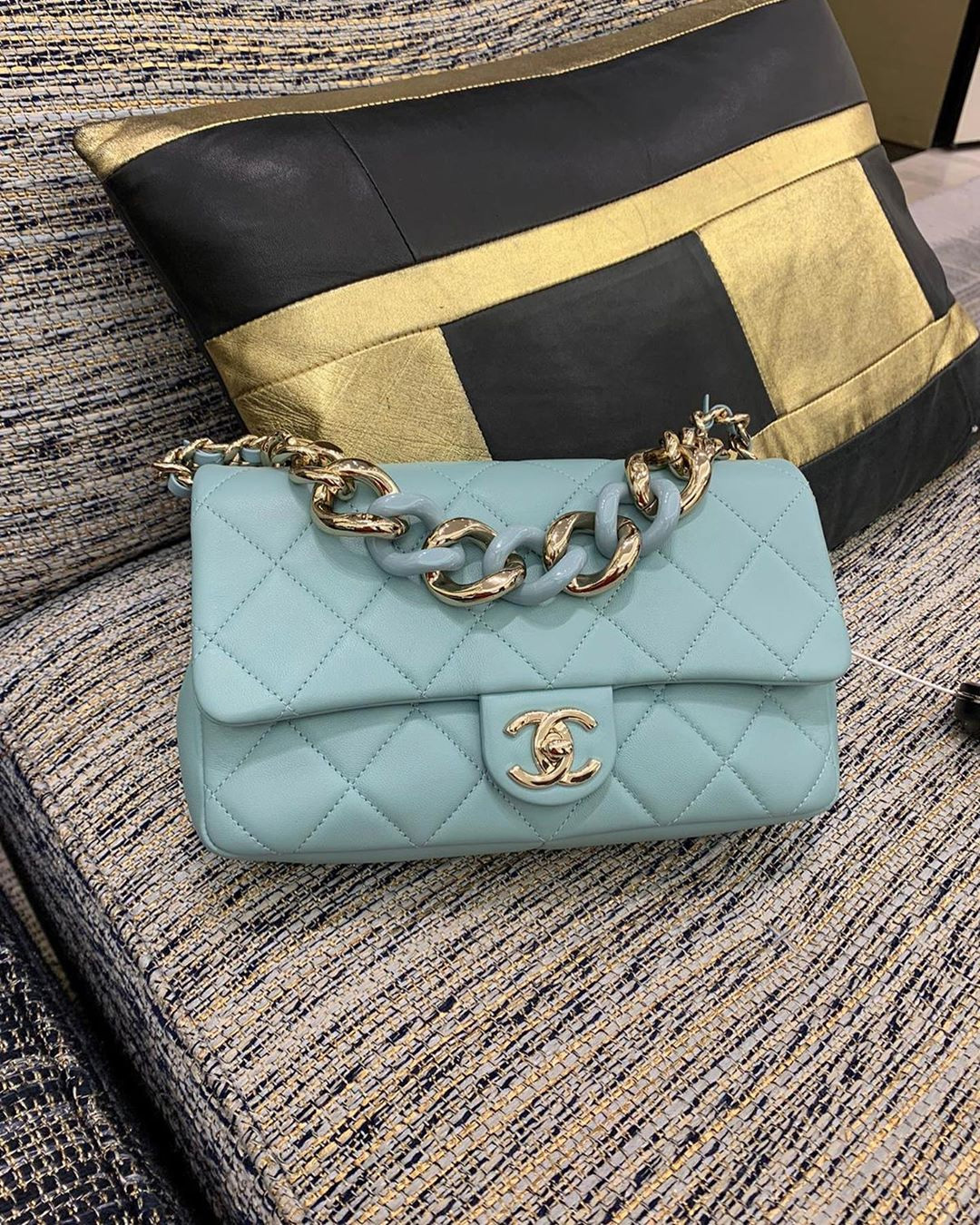 Chanel Flap Bag With Large Bi Color Chain more