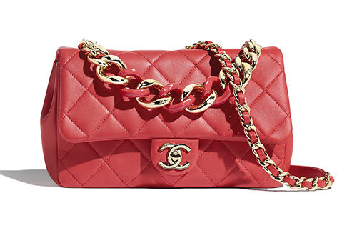Chanel Flap Bag With Large Bi Color Chain thumb
