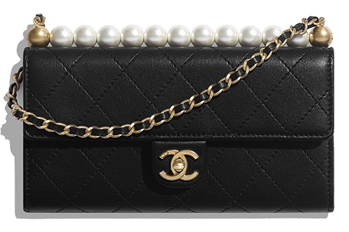Chanel Pearl Short Handle With Chain Clutch thumb
