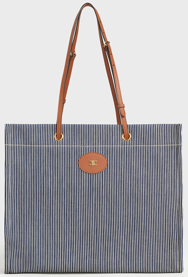 Celine Squared Cabas Bag in Striped Textile And Calfskin M