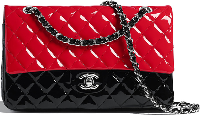 Chanel Bi Color Patent Classic Flap Bag