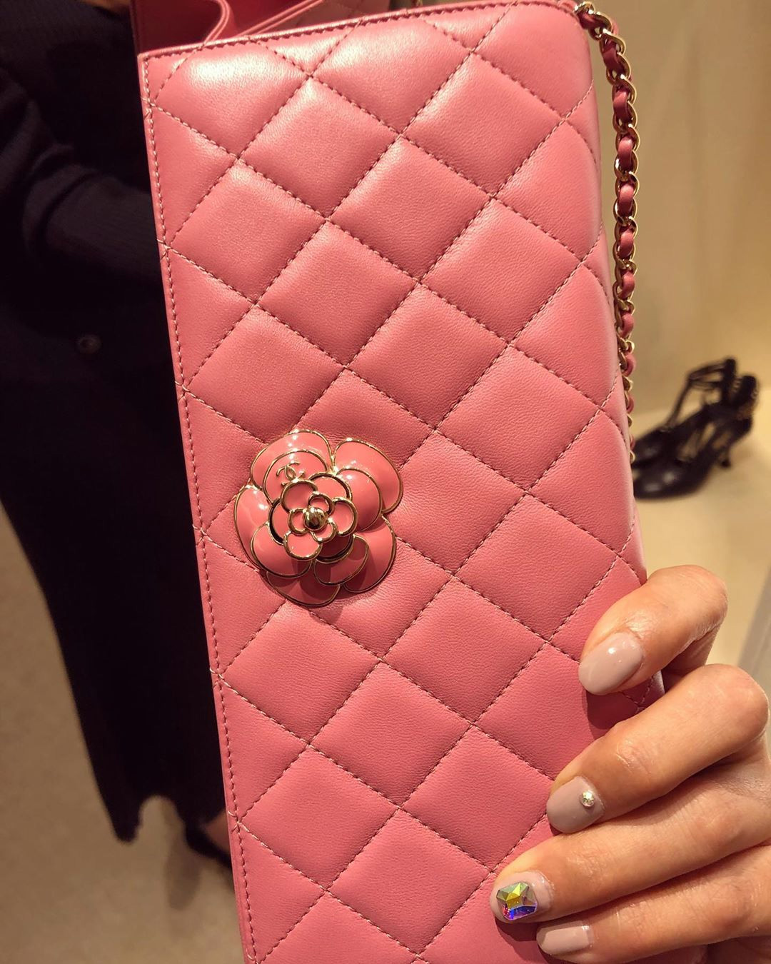 Chanel Camellia Lock Clutch With Strap