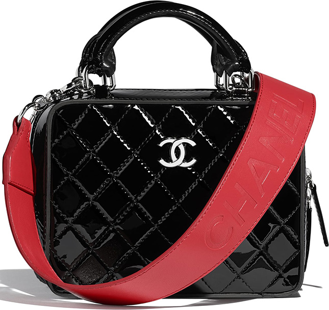Chanel Patent Vanity Case With Large Logo Strap