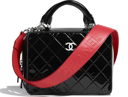 Chanel Patent Vanity Case With Large Logo Strap thumb