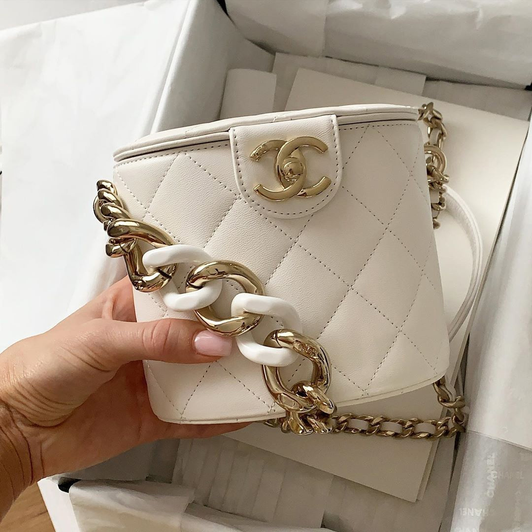 Chanel Vanity Case With Color Strap