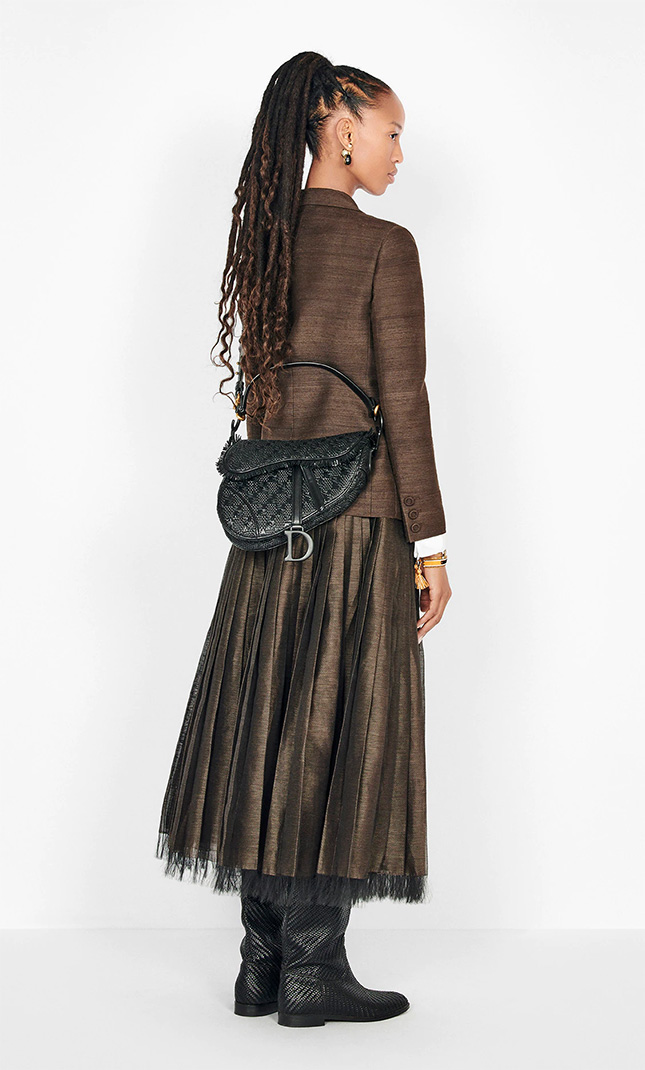 Dior Saddle Braided Leather Strips Bag